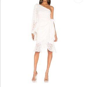 KEEPSAKE Label white one shoulder lace dress xxs